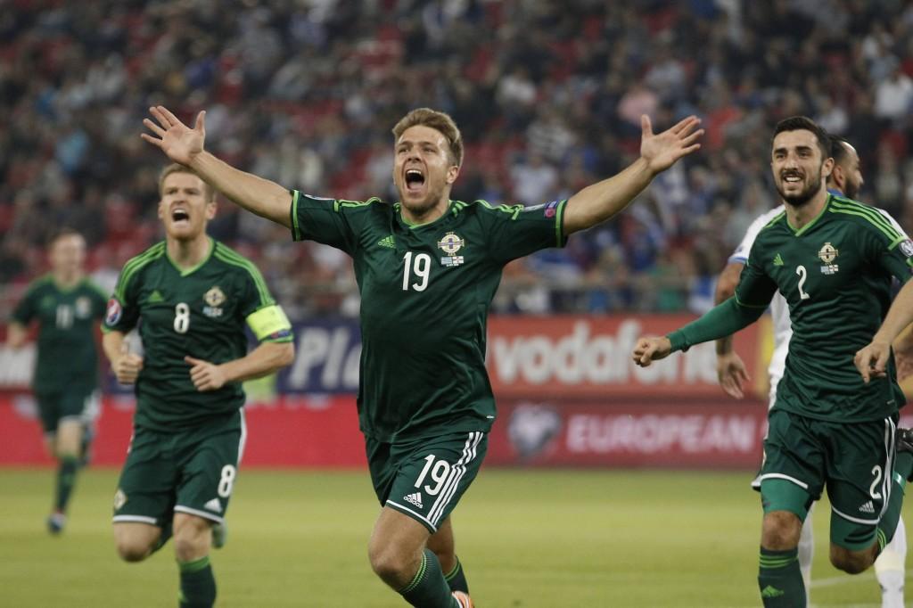 Northern Ireland's Ward celebrates after scoring against Greece during their Euro 2016 qualifying soccer match at Karaiskaki stadium in Piraeus, near Athens